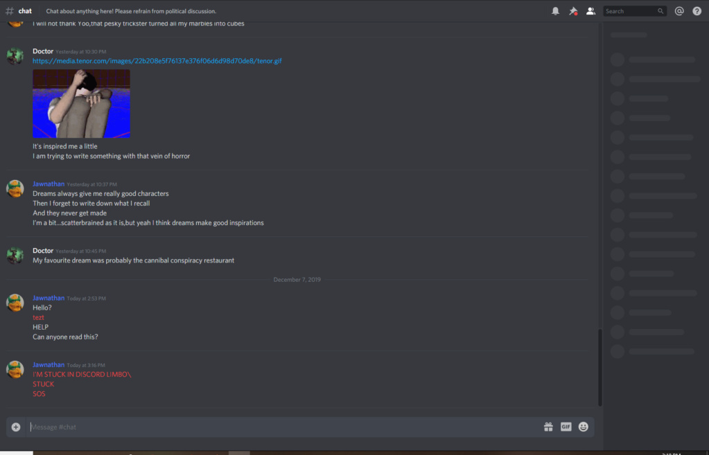 Discord is acting iffy Sos10