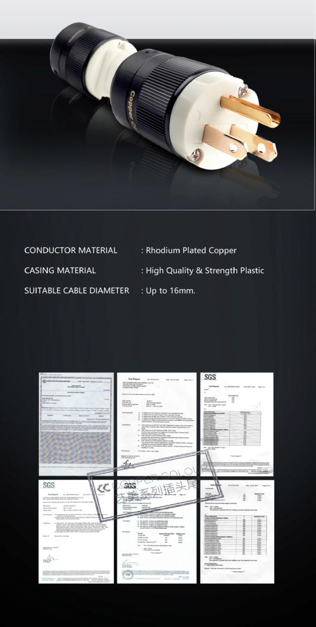 Copper Color YZ-RH Rhodium Plated Copper Power Plug (US Standard) Yz-rh_12