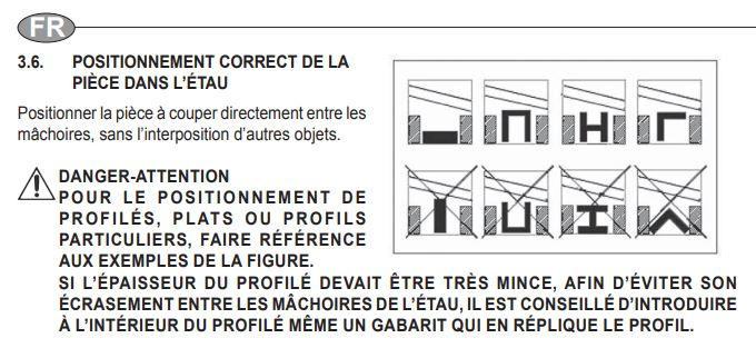 Femi ABS NG 120 : 3 tableaux : Quelle lame selon section, selon machine & vit coupe et avancement selon section et matériaux Positi10