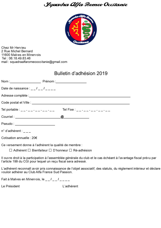 Bulletin d'ahésion S.A.R.O 2019 Bullet11
