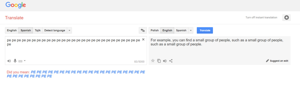 Hidden Algorithm in Google Translate Spanis10