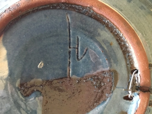 Studio art pottery galleon wall plate, signed 01f80510