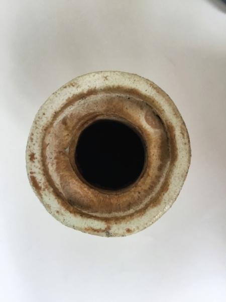 Heavy studio stoneware bottle vase, PJ or JP interlinked mark 05342b10