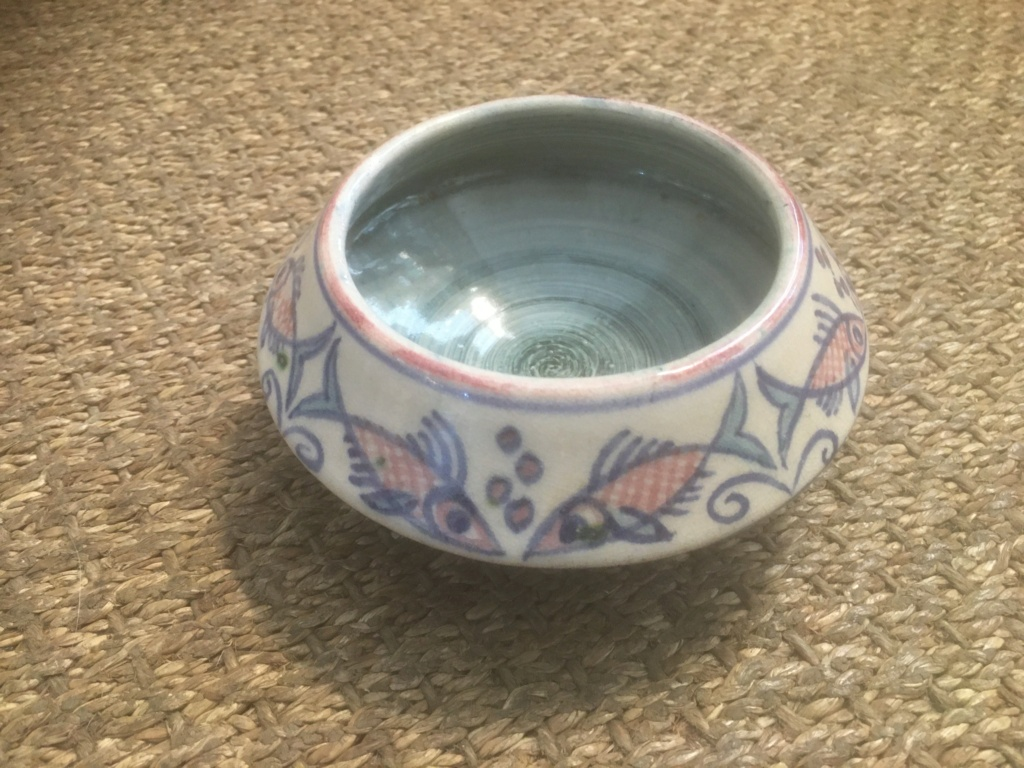 1937 fish studio vase shallow bowl MD mark 06a61f10