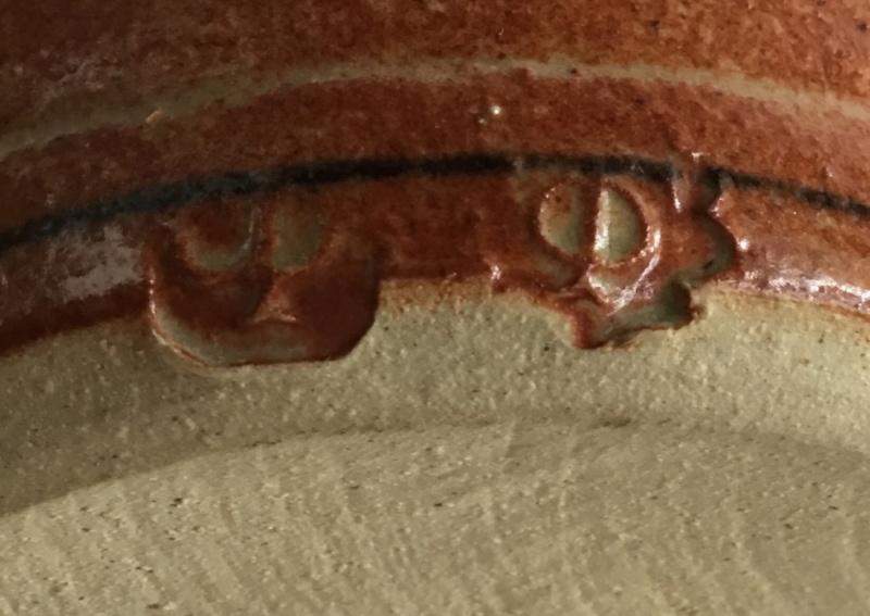CP mark on orangey-brown bud vase - Owen Thorpe, Churchstoke Pottery  06b62410