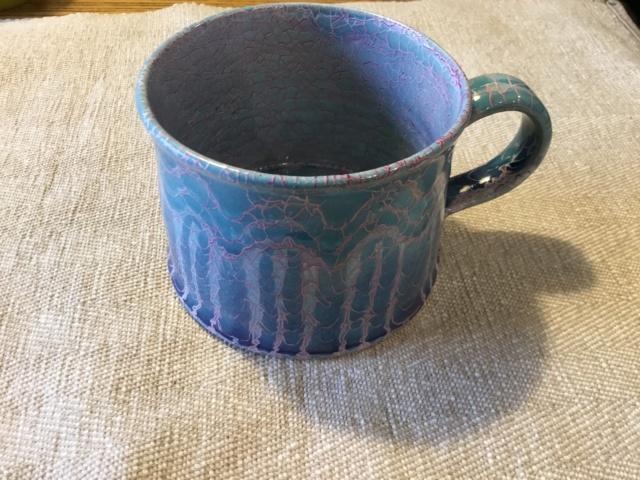 Studio mug, blue & pink mosaic glaze, SA mark - Rupert Andrews 079fde10