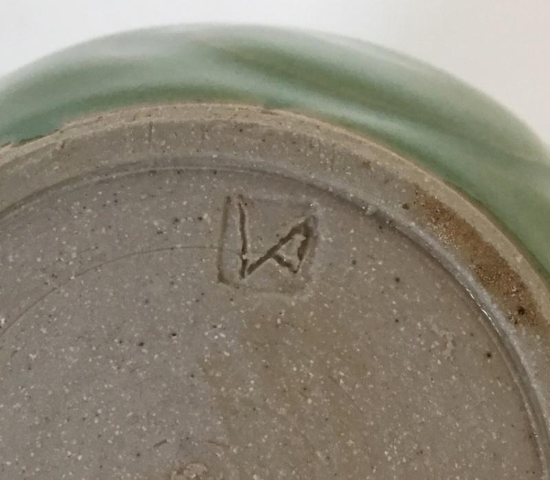 Bright green studio vase, stoneware, cut spiral decoration, VA mark 0ffa8a10