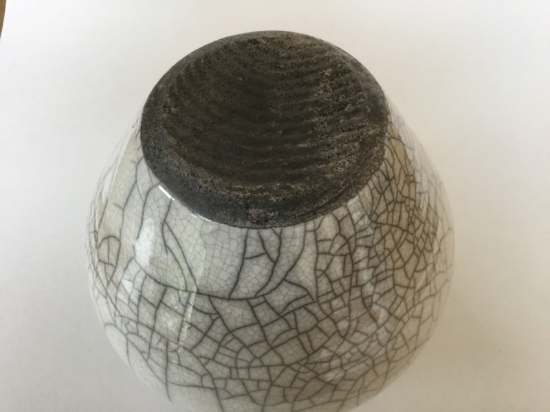 Another raku vase, marked A or N  or M or W? 124b4610