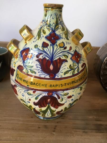Art pottery bottle early 20th c? Latin motto 13017310