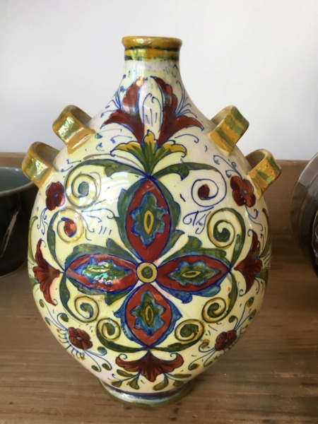 Art pottery bottle early 20th c? Latin motto 13565510