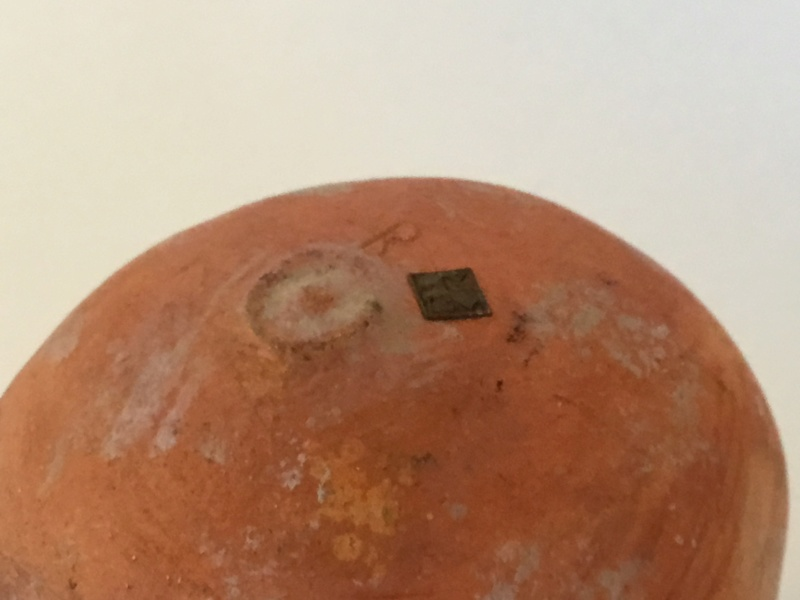 Pomegranate, unglazed, brass label, Inscribed R  147f4d10