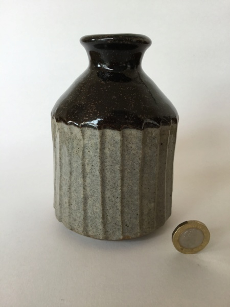 Fluted stoneware bottle vase AW or AM impressed mark 15901f10