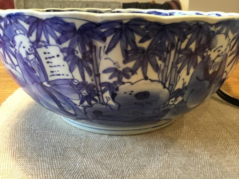 Oriental blue white bowl, unusual base 167ac210