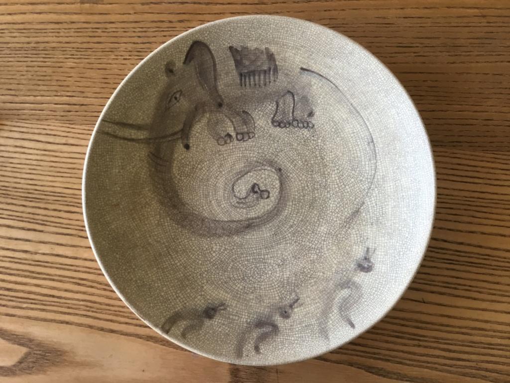 Crackle glaze elephant & ducks bowl. Japanese? Signed 19672b10