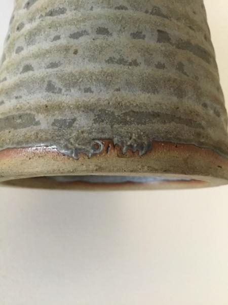 Cut footed bowl vase, grey glaze, unclear mark 1ab36310