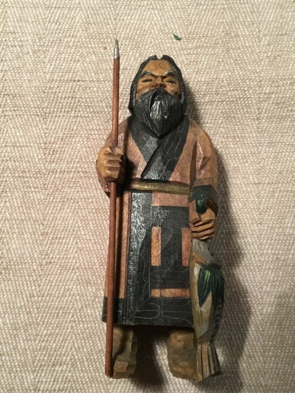 Japanese chip carved fisherman figure with spear 1c74bd10