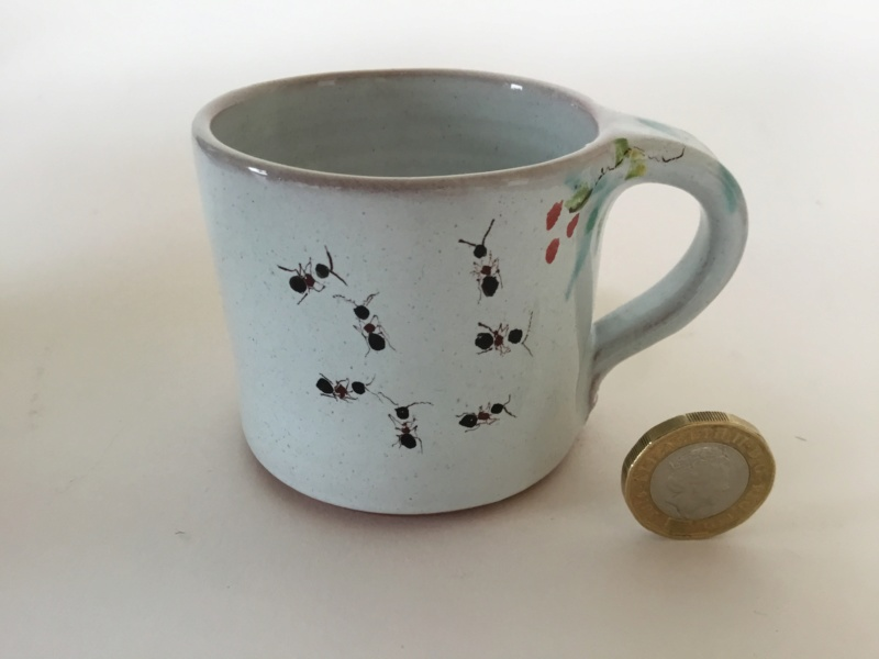 Small studio cup, ants & flowers decoration, spoked wheel stamp , leaf mark 1db89210