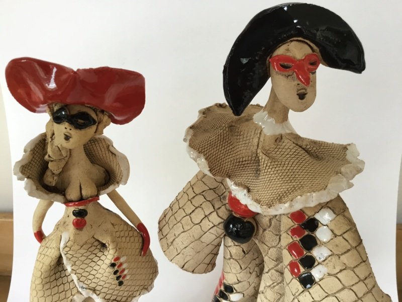 Party going masked figures, studio pottery 20747510
