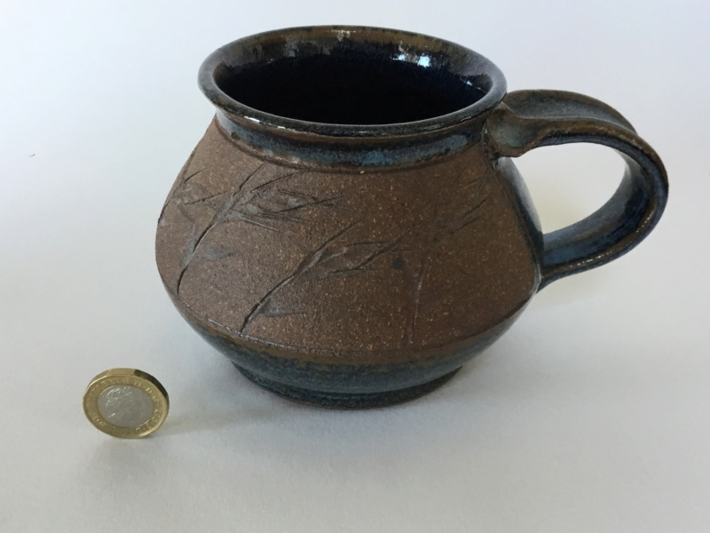 Scandinavian? Stoneware mug, incised grasses,  blue glaze, wheat ear 2170c110