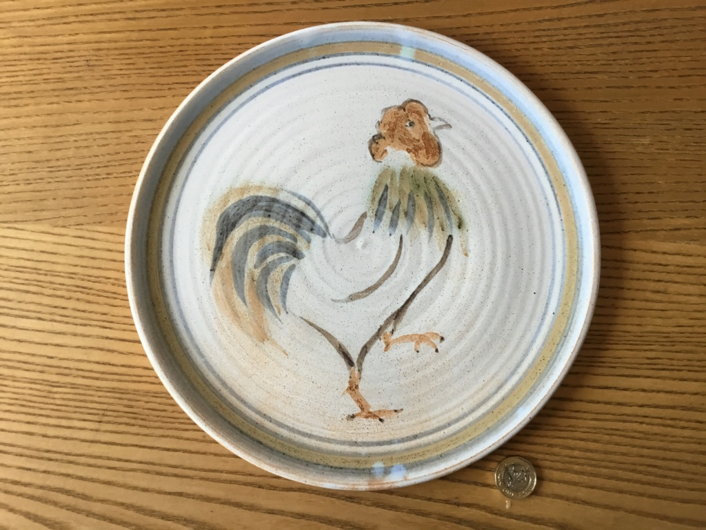 Stoneware plate, 1970s cockerel, LS SL mark - Sally Lewis  21ee5a10