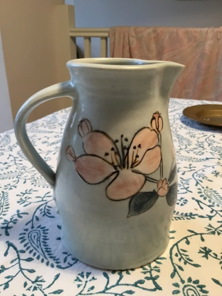 Stoneware? Studio Vase, 2 marks VVV  & MV? Mark hand painted flowers 21f9a810