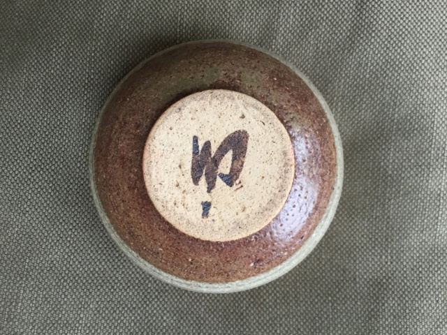 banded colours stoneware  studio bowl, marked 21fd4010