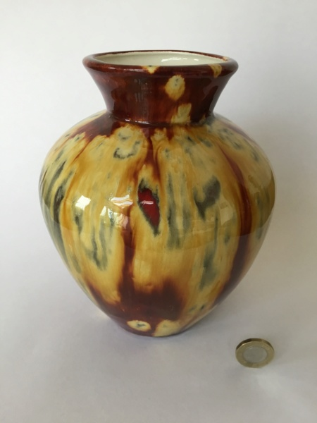 vintage baluster vase red yellow drip glaze 24d93d10