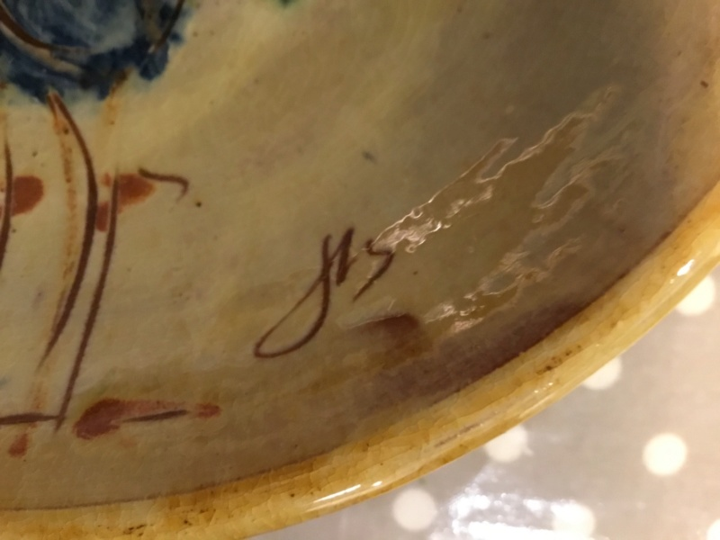 Slipware cockerel bowl, JB JHS mark? Puigdemont? 25d20210