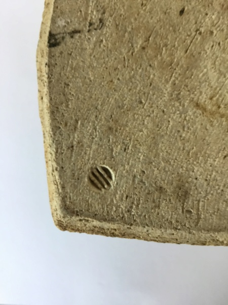 Flattened thrown stoneware vase, 4 lines circular mark 26ffe210