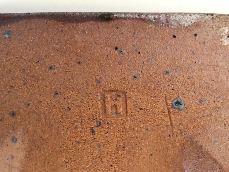 Square Stoneware dish,  4 feet, H mark - early Frank & Janet Hamer?  28d04810