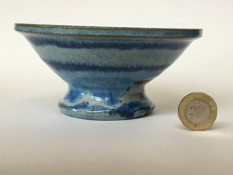 Studio bowl, impressed mark, blue and red-brown flow flower 2ad50d10