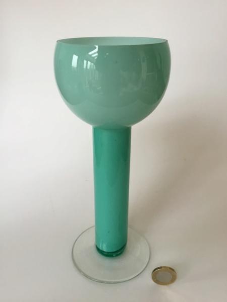 Goblet shape vase, Light green, cased white clear base 2c627510