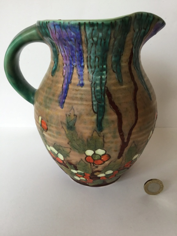 Art Deco moulded & painted jug by Crown Devon - Matita range 2de2a710