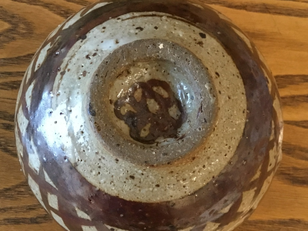 Stoneware studio bowl, Flower mark, hobby pot?  2ebf0710