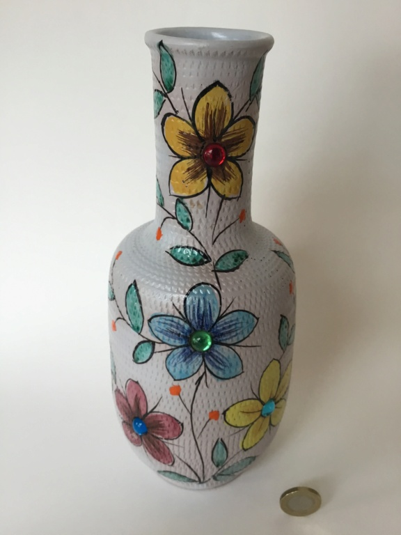 Italian hand painted jug with glass jewels. 30534d10