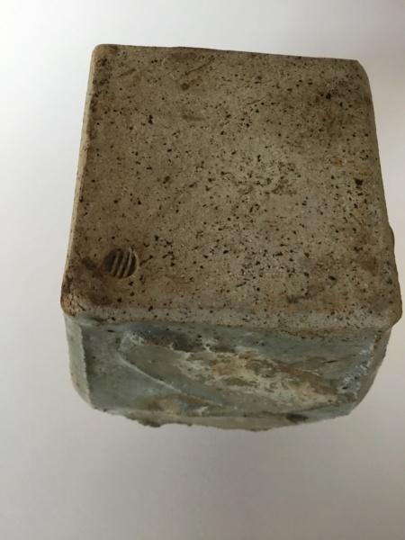 Flattened thrown stoneware vase, 4 lines circular mark 31ae9210