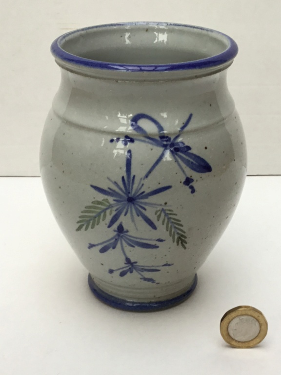 Stoneware floral studio vase marked VM ? 31ffd610