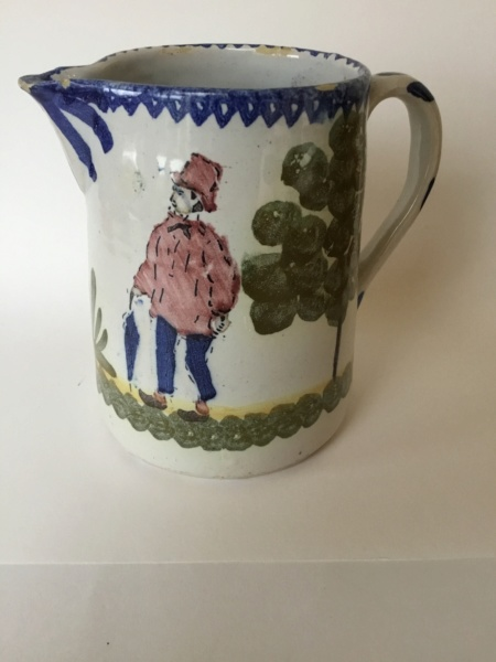 French Faience Tinglaze spongeware jug - Figure decoration 337b6310