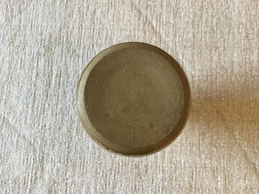 Stoneware studio Bud vase, striped glaze, KR mark?  35258c10