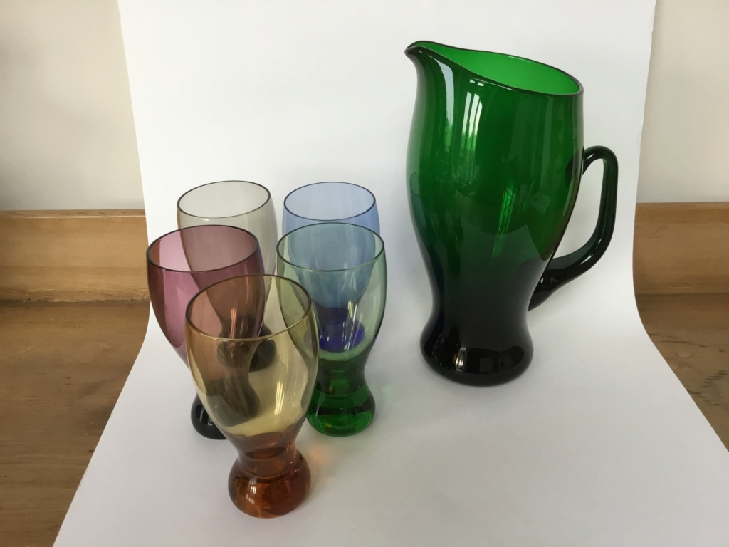 Green jug and coloured glasses set 35674110