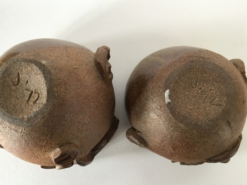 Studio face pots, J 72 mark stoneware  3877db10