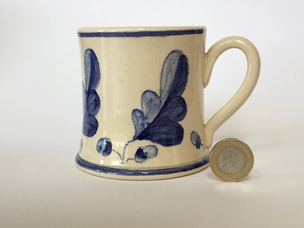 JK mark, blue & white studio oak leaf mug - Judith King?  3c357d10