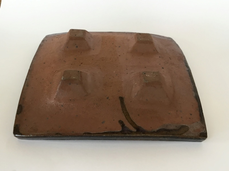 Square Stoneware dish,  4 feet, H mark - early Frank & Janet Hamer?  3f48f910