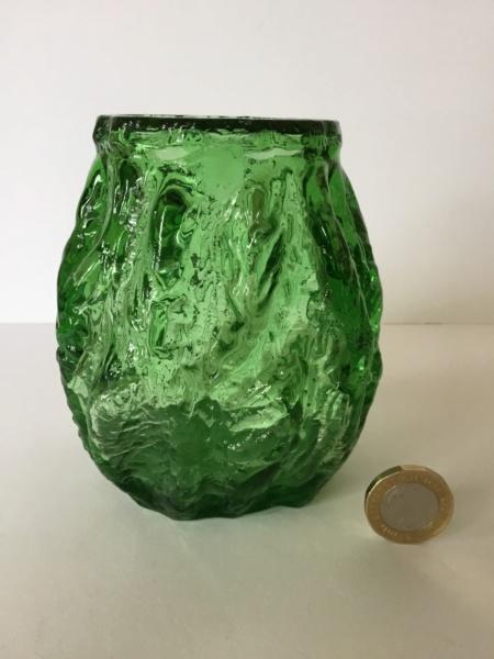 Green moulded textured vase. - Not Whitefriars - Probably Ingrid Glas 40689210