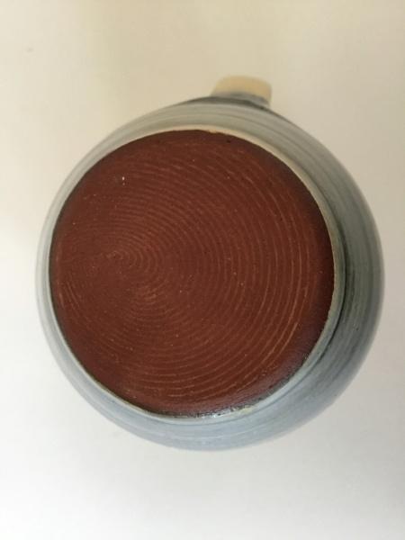 Earthenware jug, leaf decoration, PL impressed mark - Lostwithial Pottery 487e1210