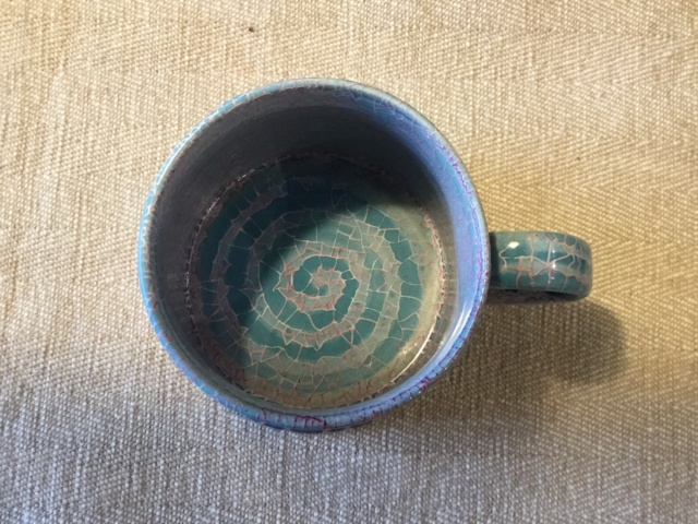 Studio mug, blue & pink mosaic glaze, SA mark - Rupert Andrews 497d7a10