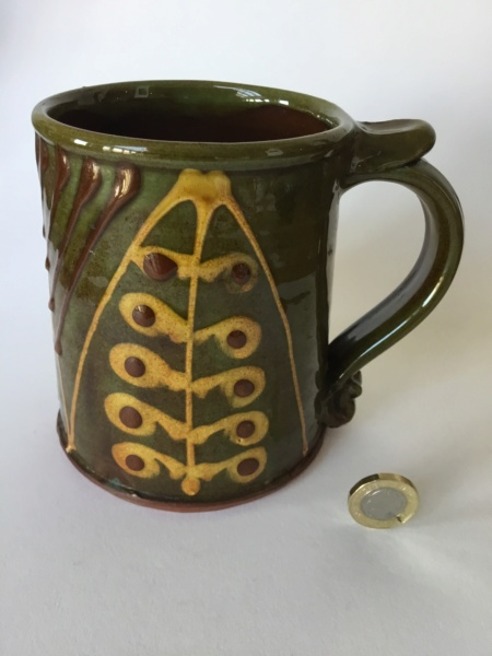 Slipware tankard, dark green, honey & brown - John Pollex?  4ab11f10