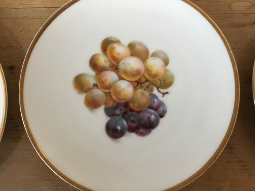 Continental porcelain fruit plates, clover mark 4ae6dd10