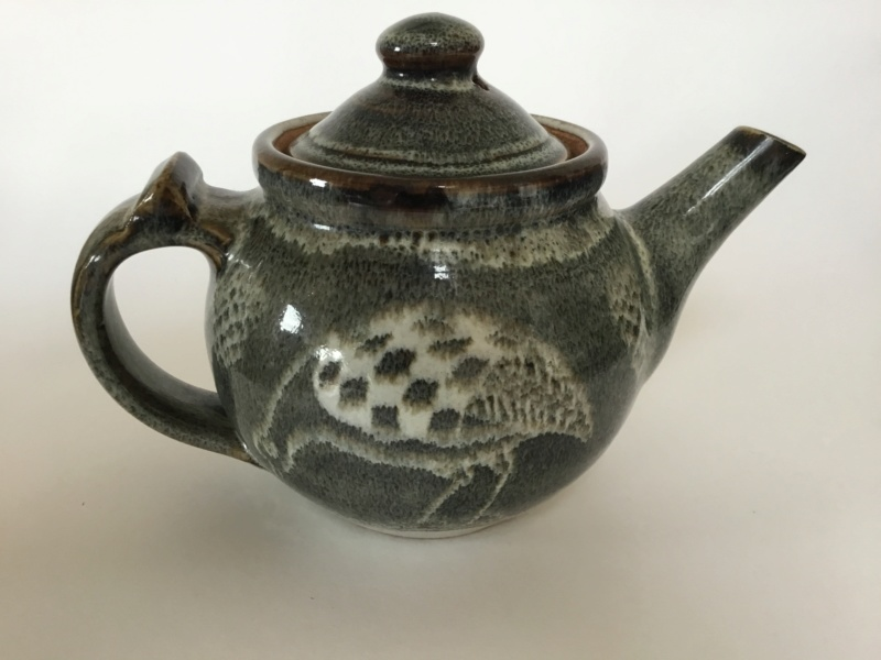 Stoneware studio teapot quail decoration - Chris Lewis  4dc4fe10