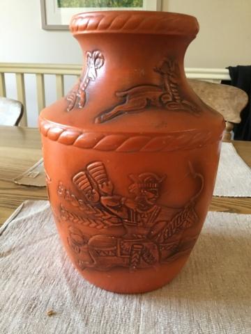 German? Vase, Mongol style hunt scene 4ff7d710